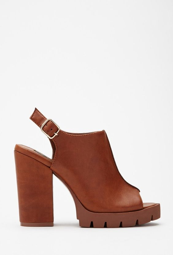 FASHION DEALS ONLINE!  FOREVER 21 faux leather peep toe slingbacks