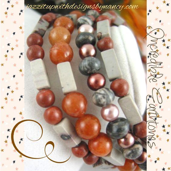 Unique gemstone stack bracelet in wonderful earth tones #cpromo