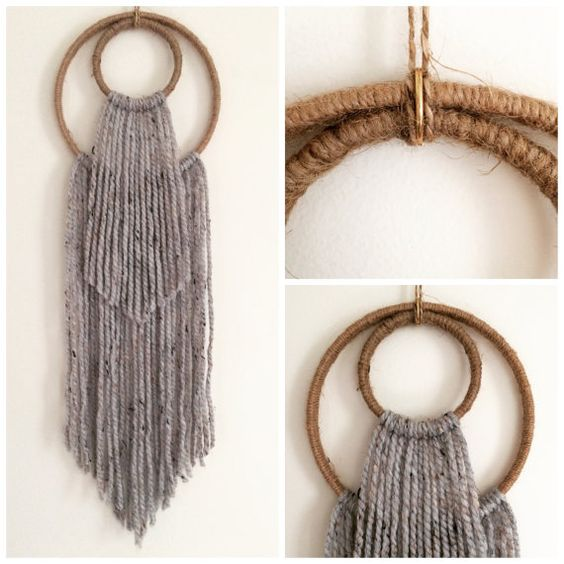 Boho Wall Hanging double hoop yarn art wall hanging - wall art - boho - fiber art