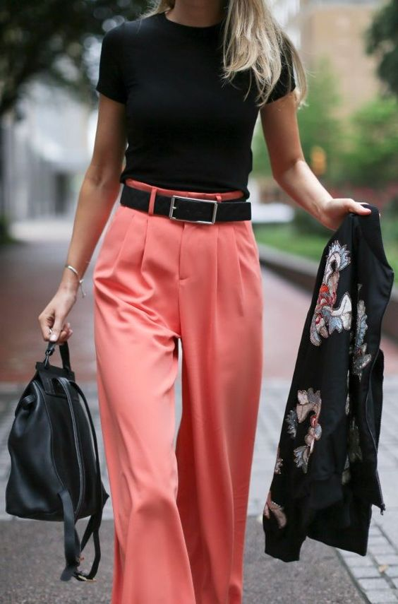 Coral Wide Leg Pants Chic Style | Fashion | Pinterest | Trousers ...