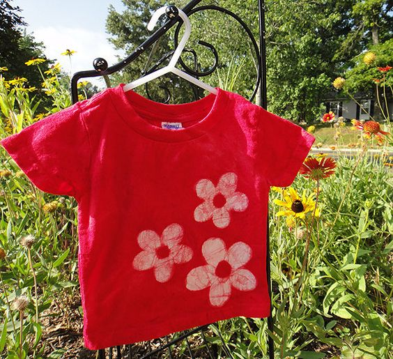 Bright red batik flowers baby T-shirt. By Peace, Baby! Batiks on @Etsy #handmade #spring