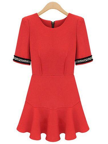 Elegant Short Sleeve Back Zipper Slim Tie Waist Party Dress Red on buytrends.com