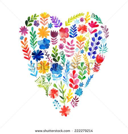 Vector heart made of watercolor flowers. Ecology emblem. Valentine's Day card. Heart icon. Autumn-summer botanical elements - stock vector