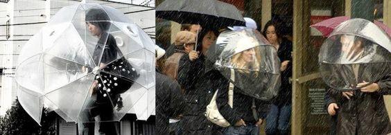 Guarda-chuva para toda a cabeça.