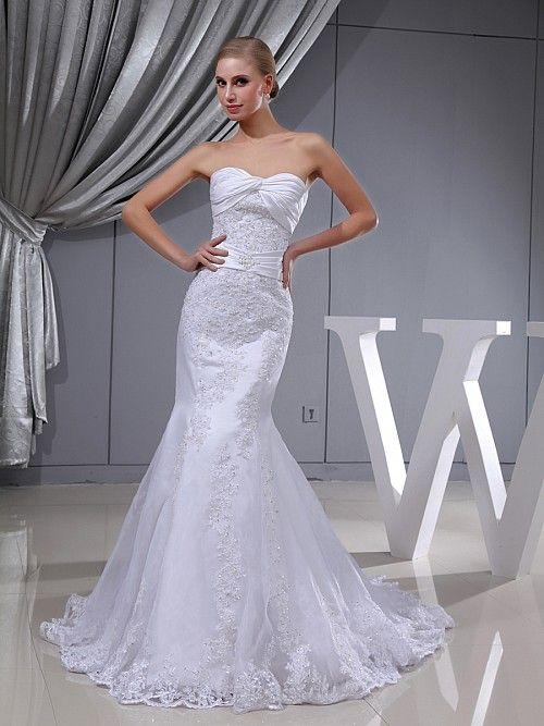 Maragold - Appliqued Organza and Elastic Satin Wedding Dress: