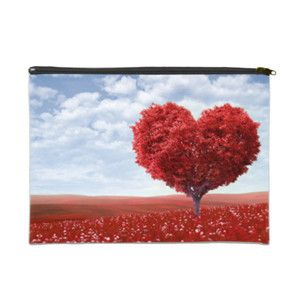 """Red Heart Tree 14"""" x 10"""" Cosmetic Bag White/Black 14"""" x 10"""" Cosmetic Bag 