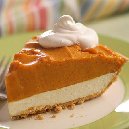 Sensational Double Layer Pumpkin Pie. I would use real whipped heavy cream and homemade vanilla pudding. YUM!