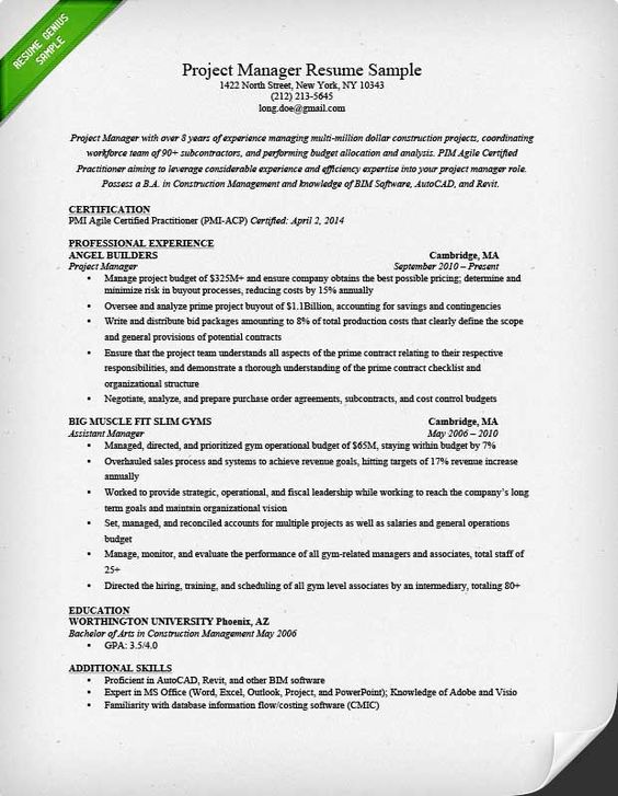 project manager resume sample amp writing guide doc tech prince - construction manager resume sample