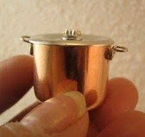how to: copper pot from copper end cap (Home Depot), hook eyes, pin heads, beads, etc.