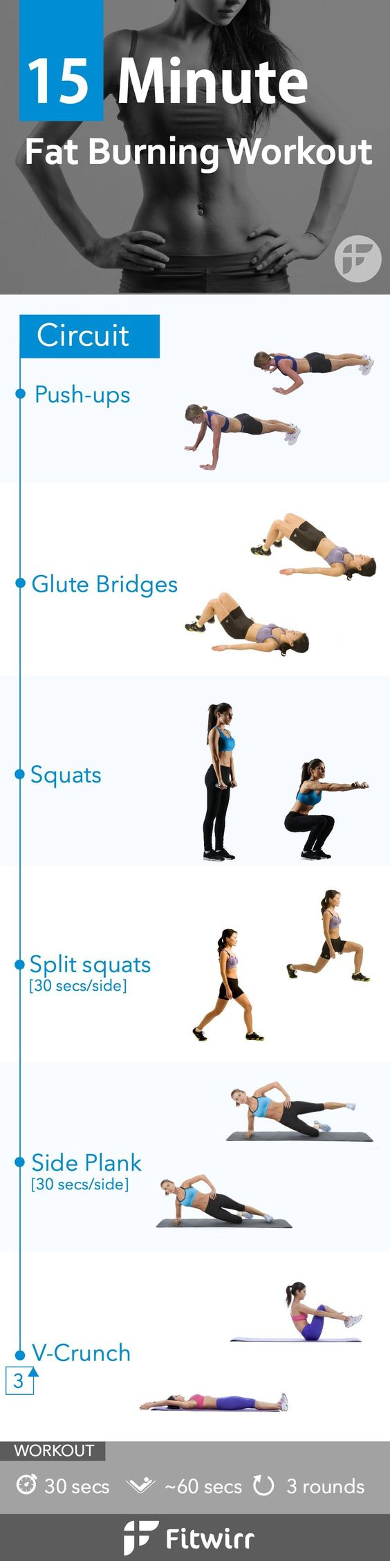 Need a quick workout you can do at home or in your hotel room? Here is a perfect workout for you. Hit it hard for 15 minutes to turn on your fat-burning hormone and get your body burning fat for up to 2 days. Sweat your way to your best body!