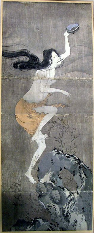 Ama with an awabi. Female abalone diver. Woodblock. Hokusai?: