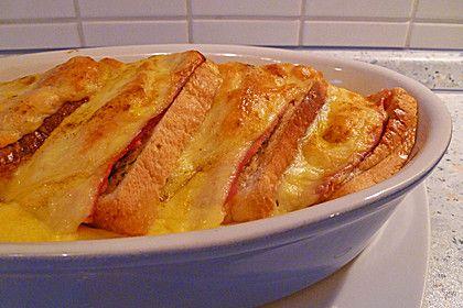 """Rahmgratin à la """"Toast Hawaii"""" – ein Klassiker neu entdeckt, ein leckeres Rezept aus der Kategorie Eier. Bewertungen: 9. Durchschnitt: Ø 3,4."""