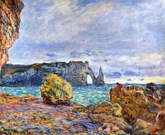 Etretat - The beach and the porte d'aval - Claude Monet: