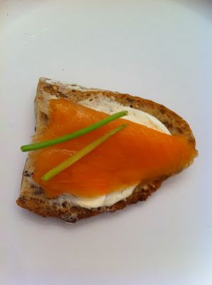 toasted multigrain baguette, cream cheese, smoked salmon, and chives.