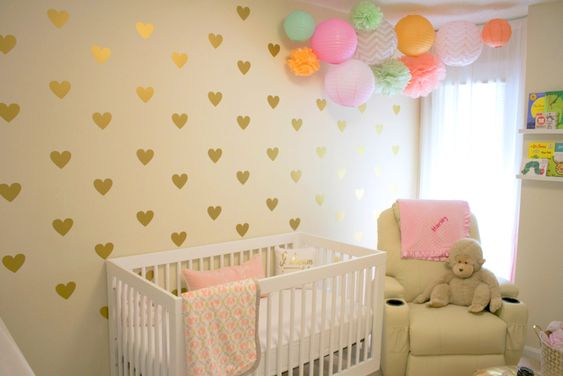 Gold Heart Decal Accent Wall in this Fun and Girly Nursery: