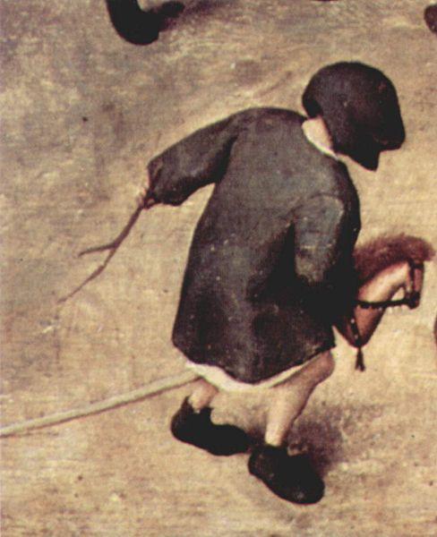 Pieter Brueghel the Elder (1526/1530–1569), Serie der sogenannten bilderbogenartigen Gemälde, Szene: Die Kinderspiele, Detail, Date: 1560