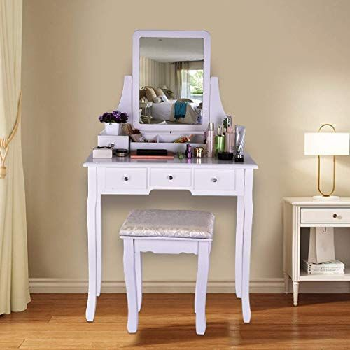 New Riforla Vanity Set Mirror Cushioned Stool Dressing Table