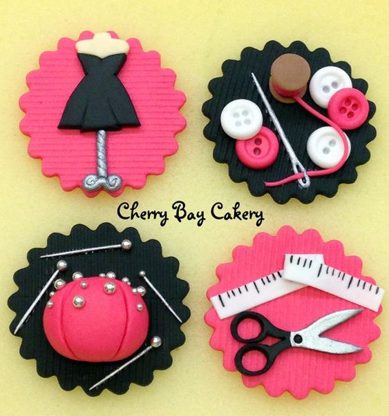 12 Fashion Design Sewing Fondant Cupcake Toppers by CherryBayCakes