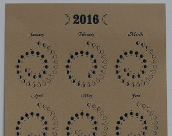 2016 Moon Calendar in Natural - Silkscreen Print