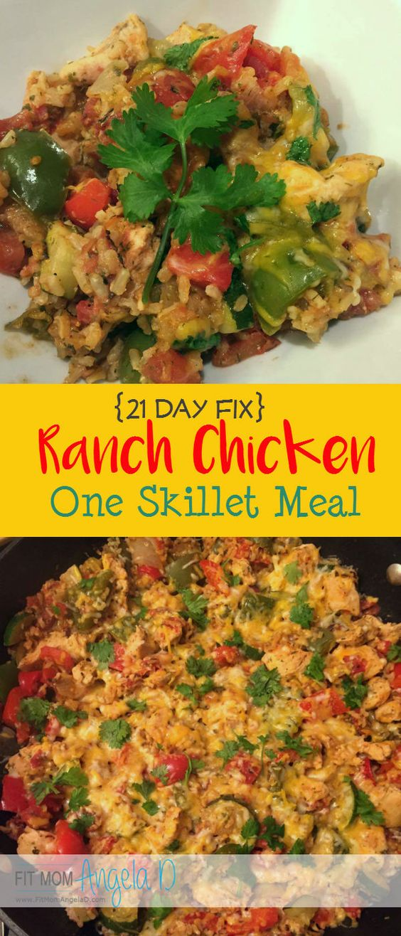Easy, healthy, one-skillet meal that is delicious! 21 Day Fix 1 serving= 1/4 of the skillet! 1 Red, 1 Blue, 1 Yellow, 1 1/2 Green