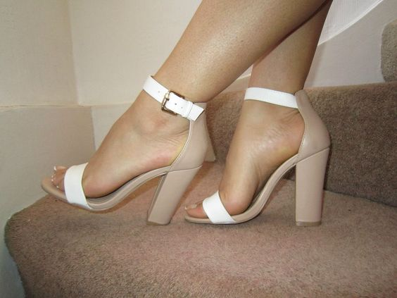 Details about Nude White Barely There Ankle Strap Chunky Heels