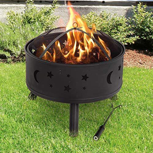 Fdw Outdoor Fire Pit Round 24 Firepit Metalfire Bowl Fireplace Backyard Patio Garden Stove W In 2020 Outdoor Fire Pit Fire Pit Fire Pit Supplies