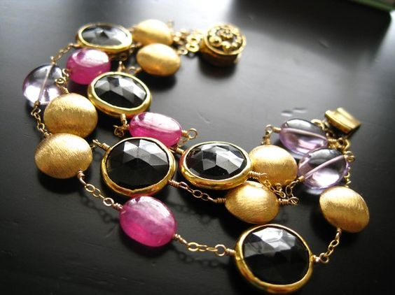 Black Spinel Pink Sapphire Pink Amethyst necklace by:  Susan Farrell  Loving these jewels!