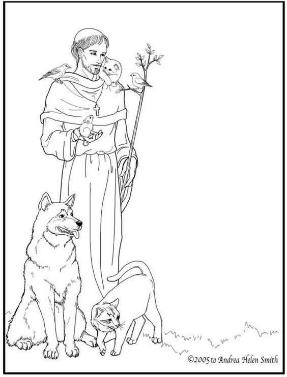 st francis coloring page - ecology animals and saints on pinterest