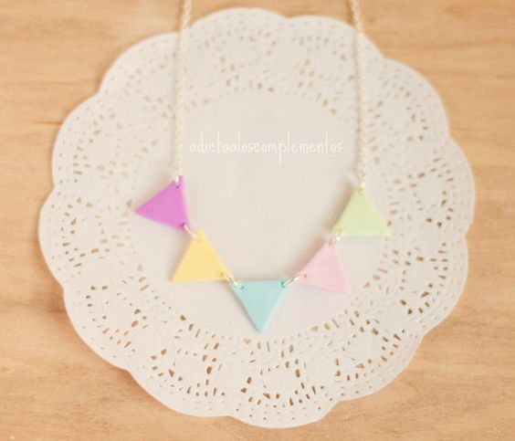 Necklace Garland Pastel Beauty and Geometric by PetiteDeer on Etsy, $17.00