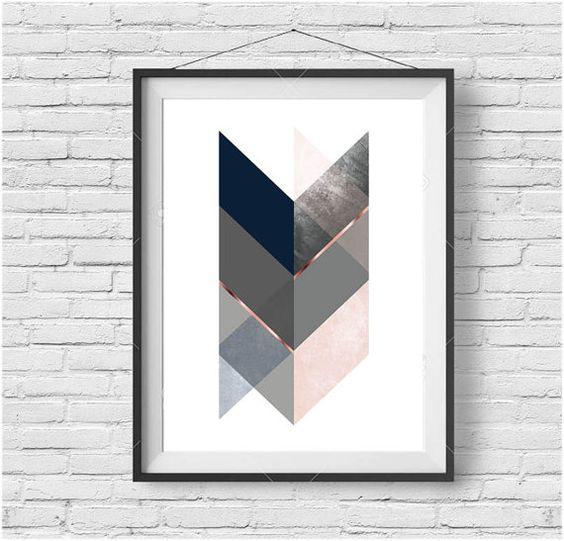 Navy Pink Print Navy Blush Wall Art Scandinavian Print Chevron Print Geometric Poster Rose Gold Art Abstract Print Contemporary Art Download