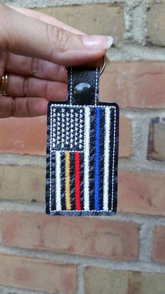 First Responders Flag Keychain Thin Blue Line, Thin Red Line, Thin Gold Line, Thin White Line   https://www.etsy.com/listing/467918709/law-enforcement-flag-police-keychain