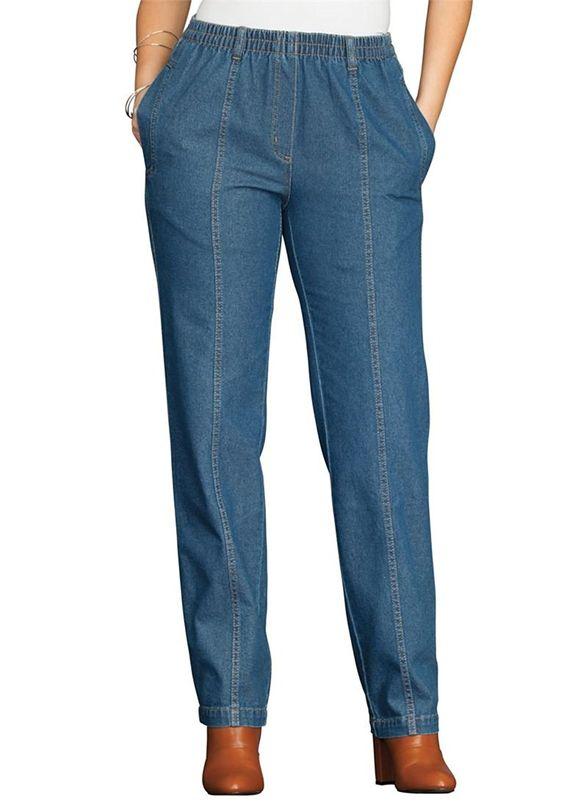 Roamans Women&39s Plus Size Petite Kate Elastic Waist Jeans