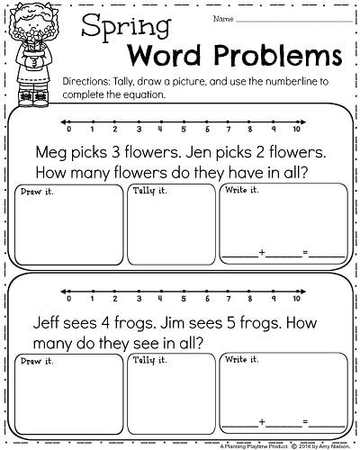 Spring Kindergarten Worksheets Planning Playtime Addition Words Word Problems Kindergarten First Grade Worksheets