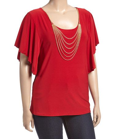 Red Gold Chain Flutter-Sleeve Top - Plus #zulily #zulilyfinds