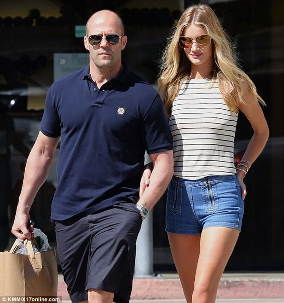 Rosie Huntington with boyfriend Jason Statham in Malibu.