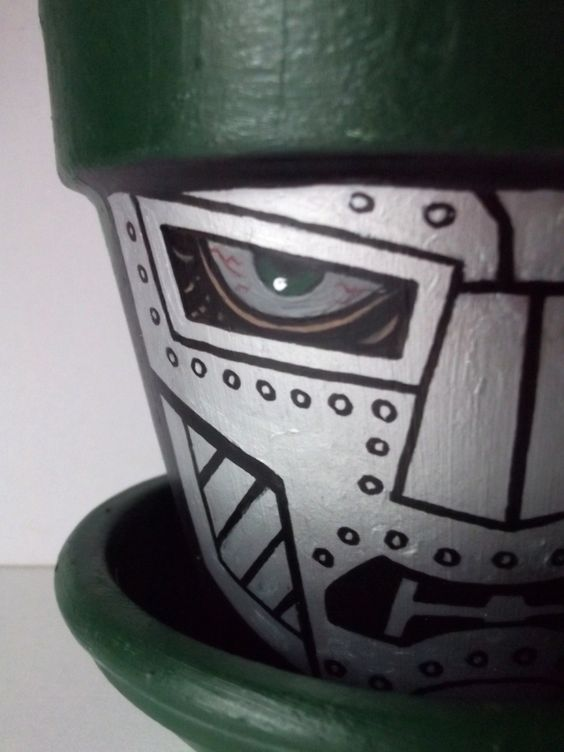 Dr+Doom+Painted+Flower+Pot+with+Tray+Marvel+Avengers+by+GingerPots,+$20.00