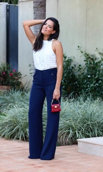 Look do dia: navy and white!