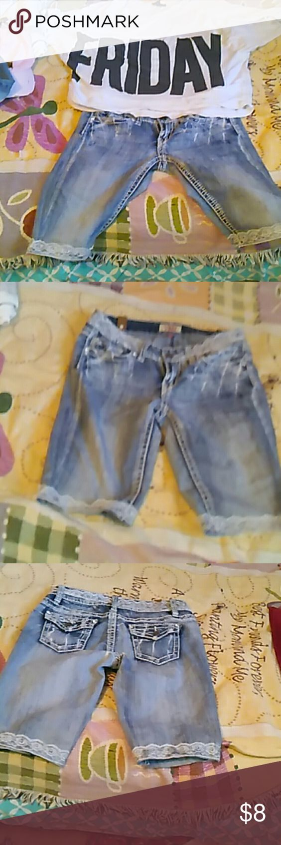 Really cute embellished shorts. Really cute jean shorts with lace around the top and legs. Right on your knee. They will be good to wear on the first day of school, with a T-shirt or a cute tank top or blouse. They do stretch I wear a 9 and they fit OK. YMI Shorts Jean Shorts
