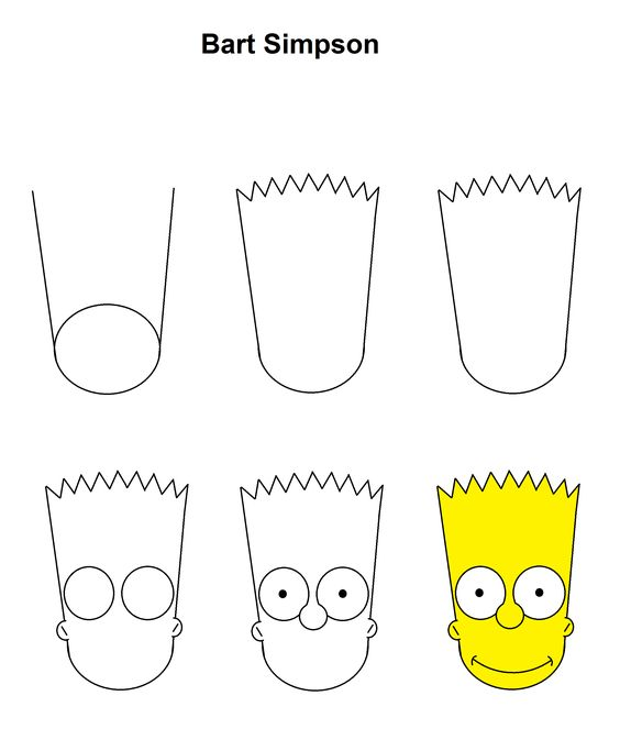 Drawing For Beginners Bart Simpson step-by-step tutorial.