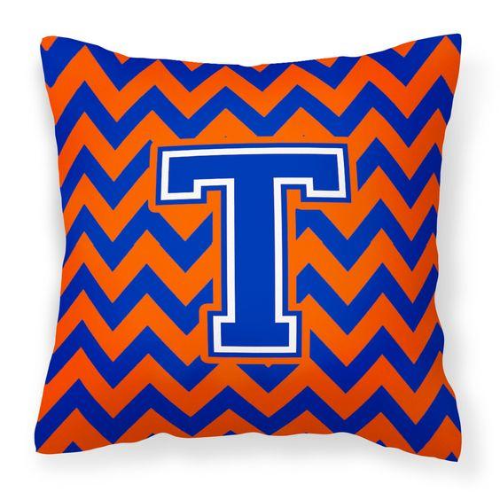 Letter T Chevron Orange and Blue Fabric Decorative Pillow CJ1044-TPW1414