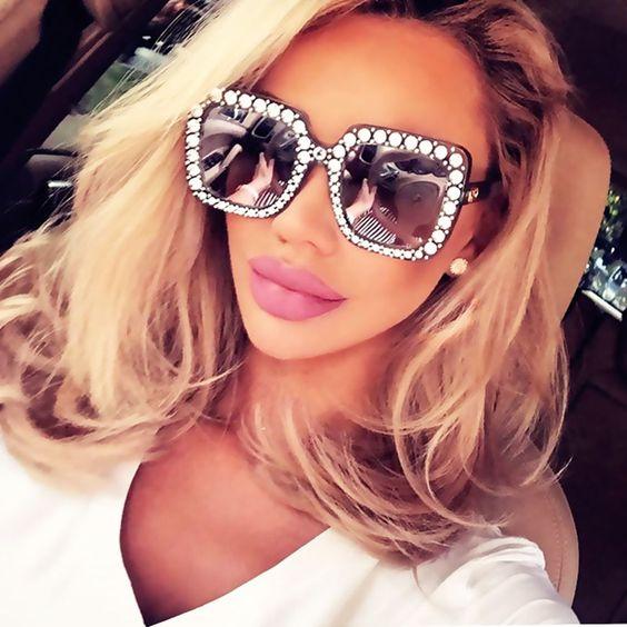 2018 Oversized Square Luxury Crystal Sunglasses Women Diamond Retro Vintage Sexy #2018OversizedChina #Oversized