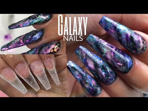 Diy Galaxy Acrylic Nails Coffin Shape Glitter Planet Pigments Acrylic Youtube Acrylic Nails Coffin Glitter Nails Acrylic Nails