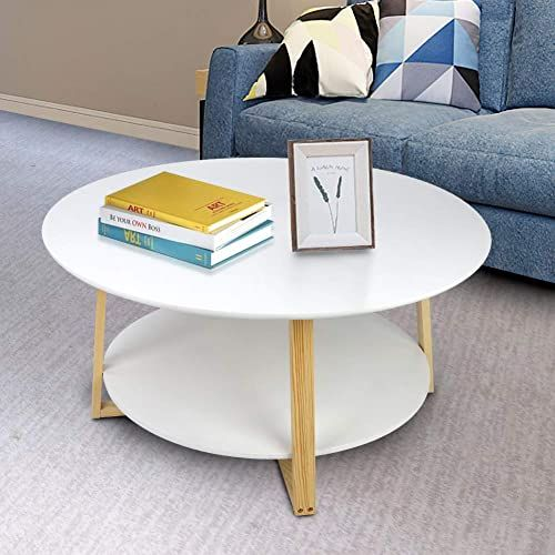 New Greensen Modern Round Coffee Table 2 Tier White Wood Side Table Storage Shelf Living Room Home Furniture Mdf Desktop Solid Wood Frame Online Shopping In 2020 Coffee Table Side
