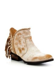 Women's Circle G by Corral Ankle Boot Cowhide Round Toe Boot with Fringe, White