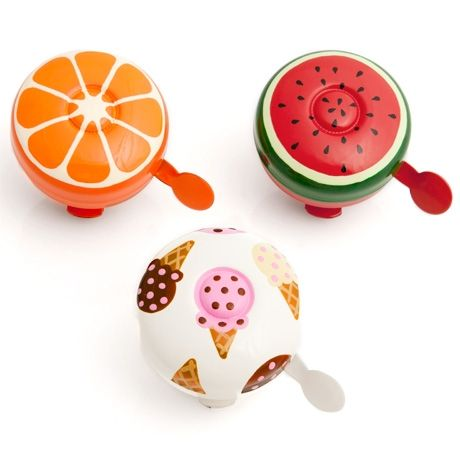 These delicious bicycle bells are painted with eco-friendly paints (without solvents or toxic perfumes) then baked to resist all types of weather by artisans in Canada. Choose from refreshing orange, watermelon or ice cream.    $29