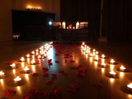 romantic candle decor for Valentine's