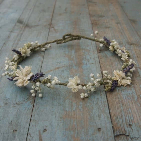 Lavender Twist Baby's Breath Hair Circlet   The Artisan Dried Flower Company   Fradswell, Staffordshire