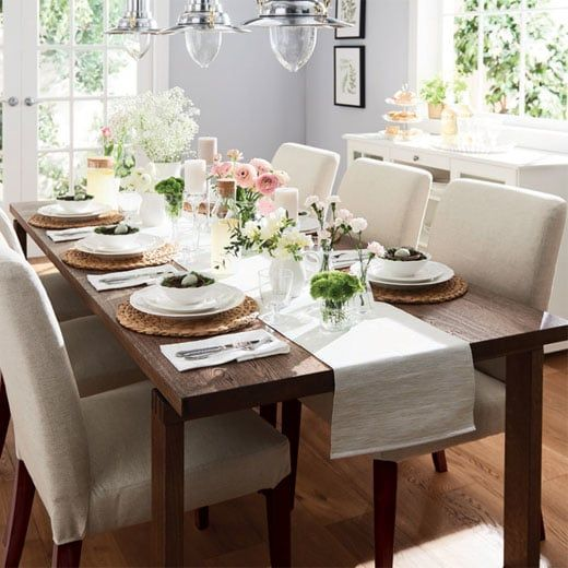 Morbylanga Dining Table With A Beautiful Spring Decor And Henriksdal Chairs Brown Dining Table Dining Table Makeover Ikea Dining Sets