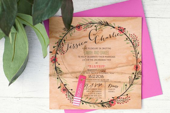 So fun to see the pinks on the wood in this playful wedding invitation design. Such  a great way to stand out if the crowd!