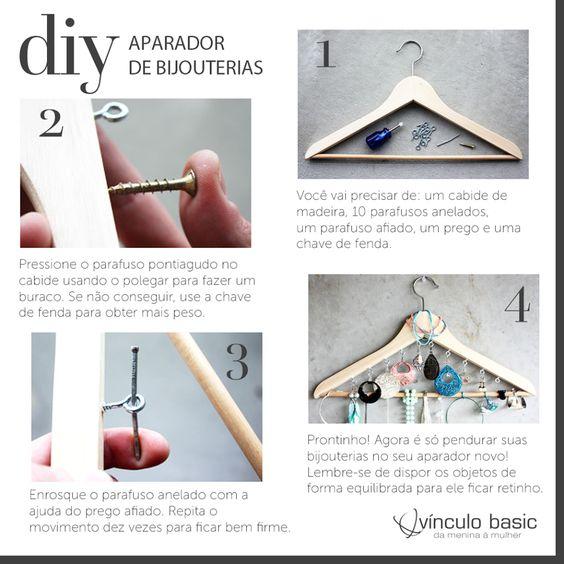 Suas bijoux andam uma bagunça? Nós temos uma solução! Com esse passo a passo simples de fazer, você pode criar um aparador super criativo utilizando materiais que você já tem em casa. Isso mesmo, um cabide de roupas!  #vinculobasic #tutorial